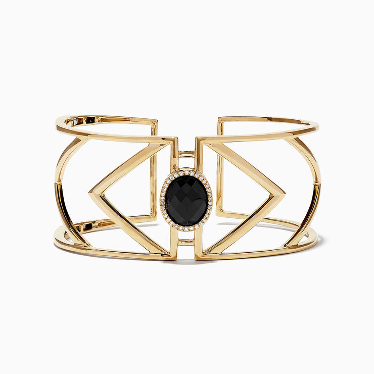 Effy 14K Yellow Gold Onyx and Diamond Bangle, 8.02 TCW
