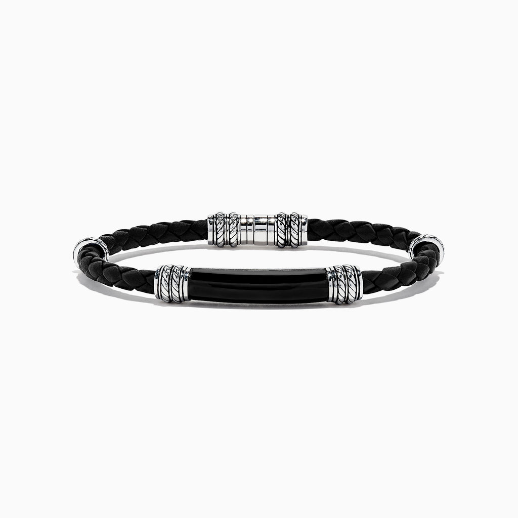 Effy Men's Sterling Silver and Leather Onyx Bracelet, 13.00