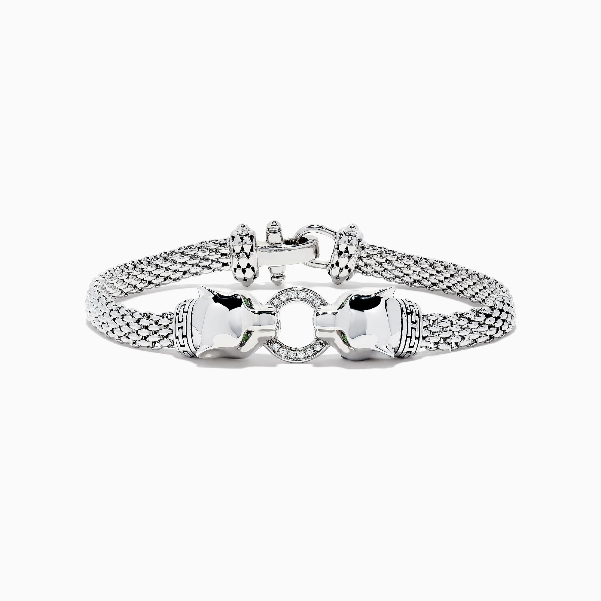 Effy Signature Sterling Silver Diamond and Tsavorite Panther Bracelet, 0.16 TCW