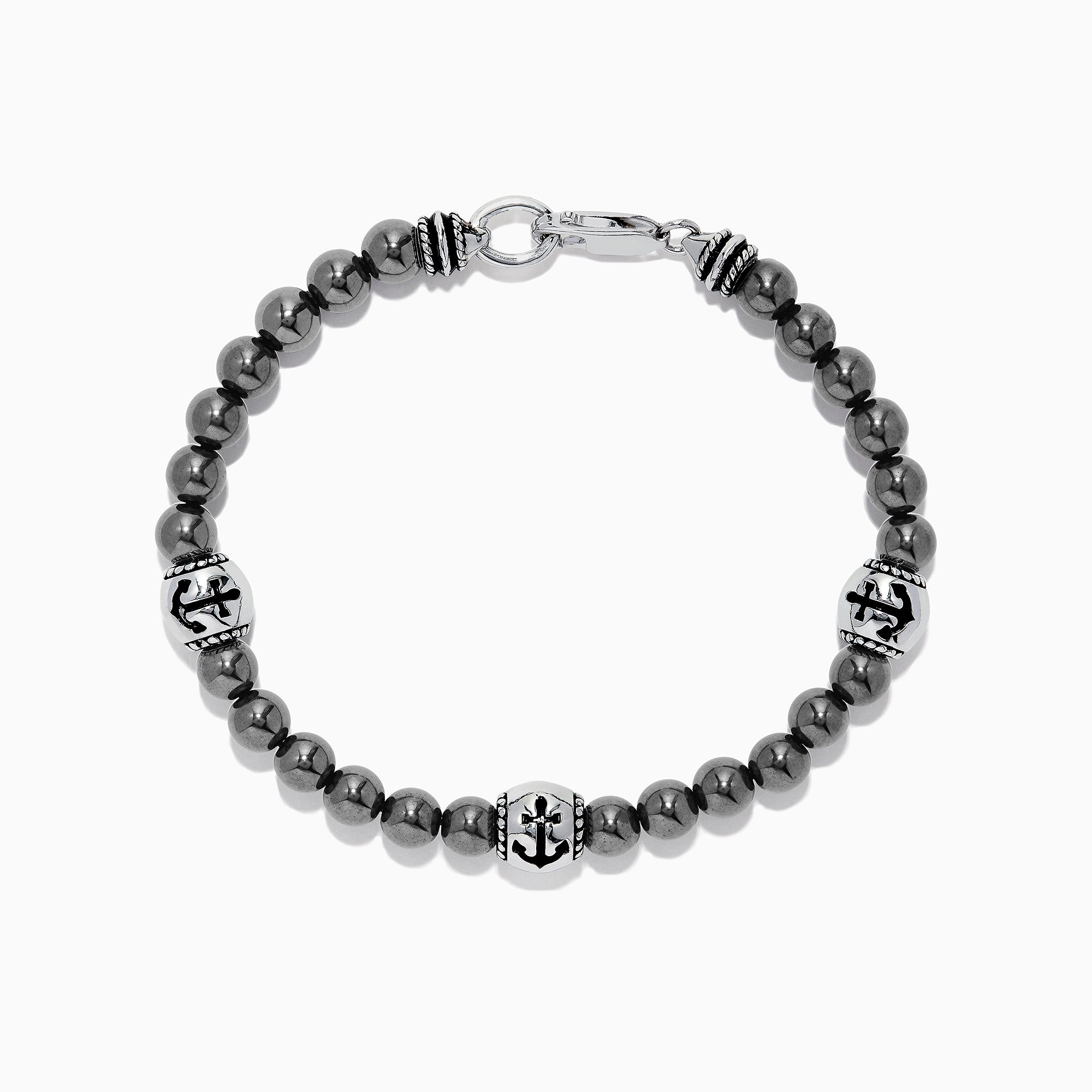 Effy Men's Sterling Silver Beaded Hematite Anchor Bracelet, 71.43 TCW