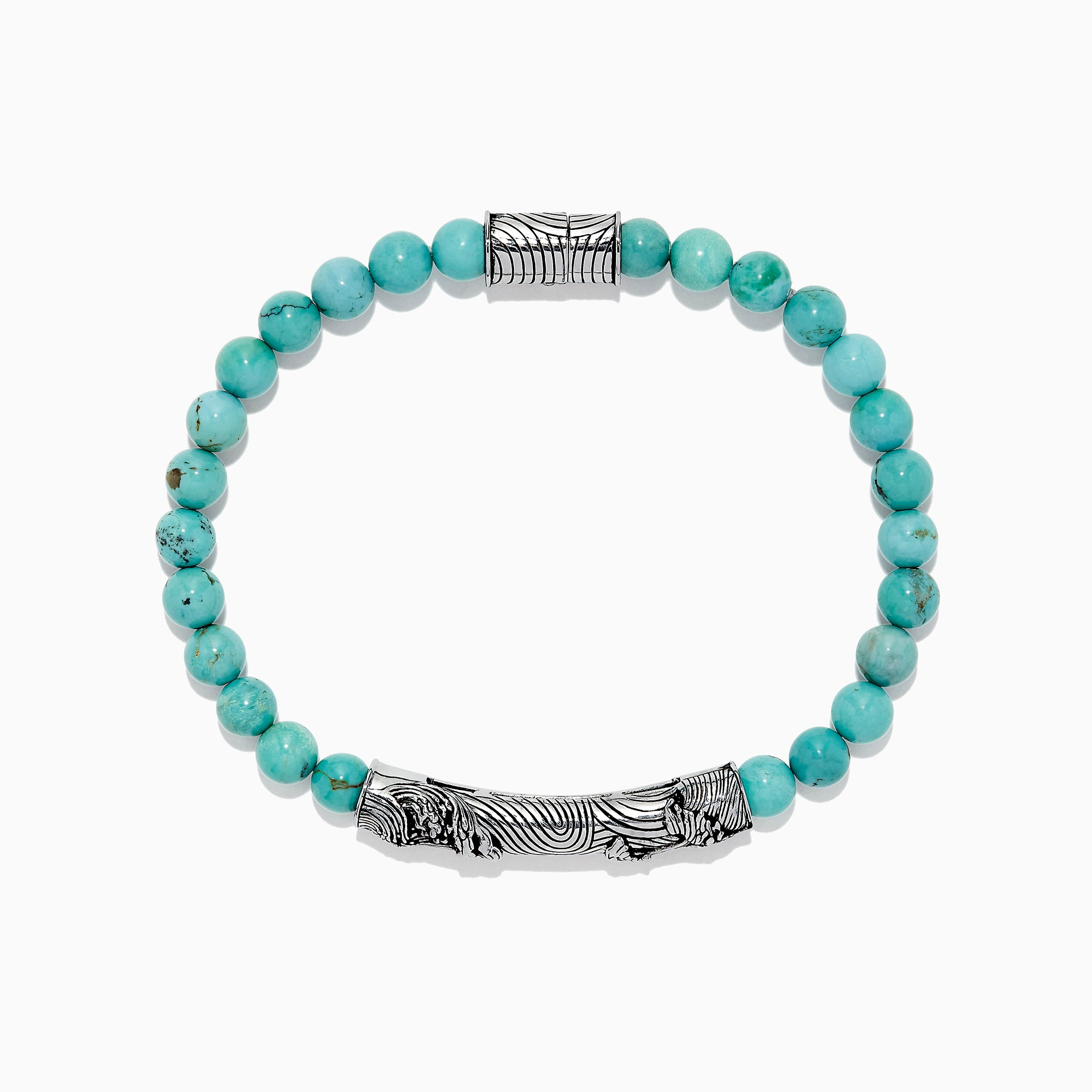 Effy Men's Sterling Silver Beaded Turquoise Wave Bracelet, 24.00 TCW