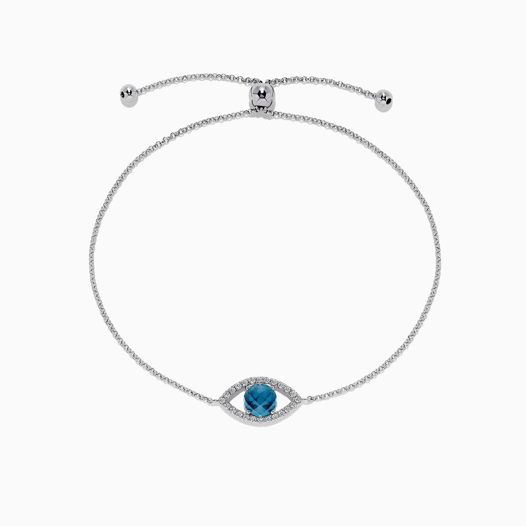 Effy Novelty 14K White Gold Blue Topa & Diamond Evil Eye Bracelet, 1.67 TCW