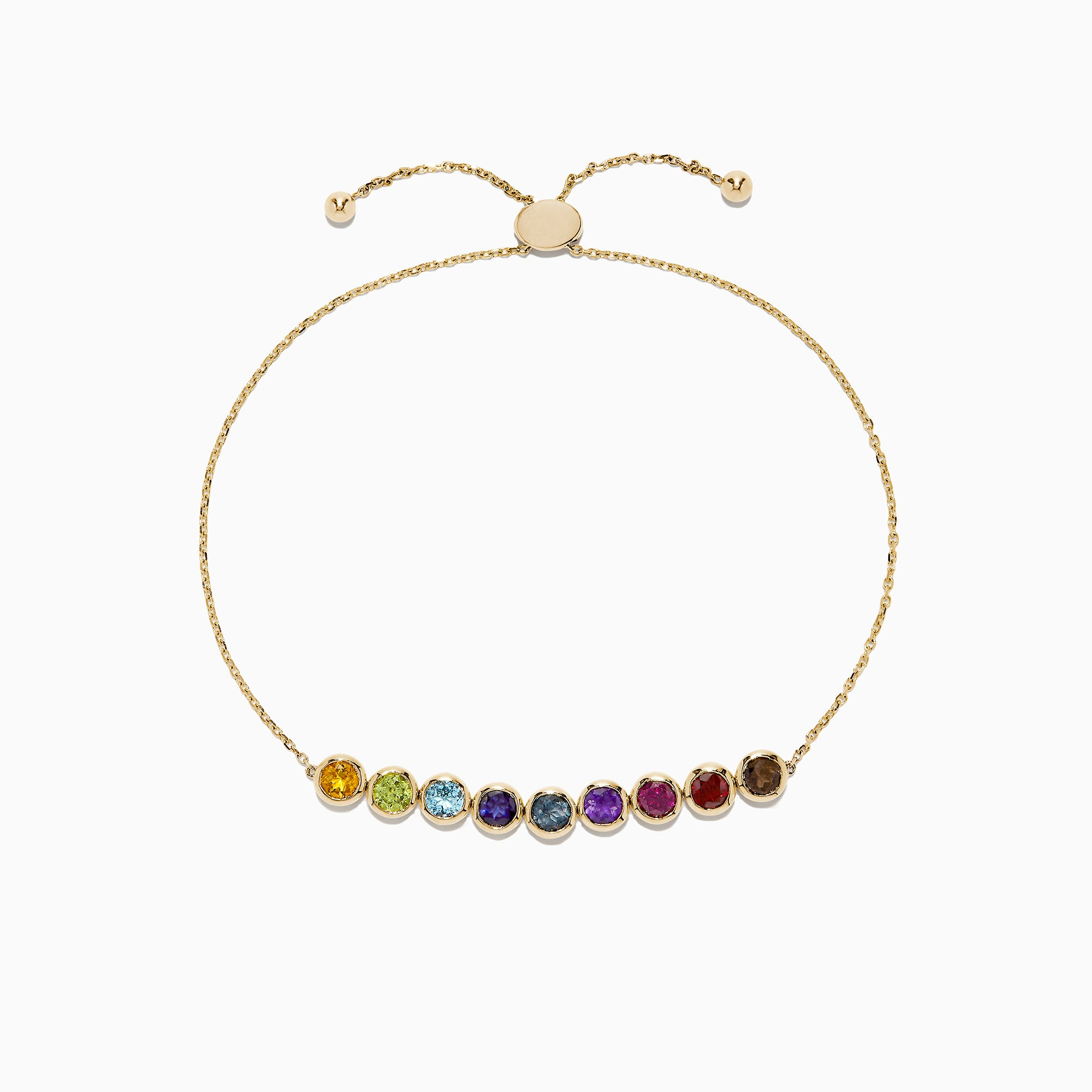 Effy Mosaic 14K Yellow Gold Multi Gemstone Bolo Chain Bracelet, 2.55 TCW