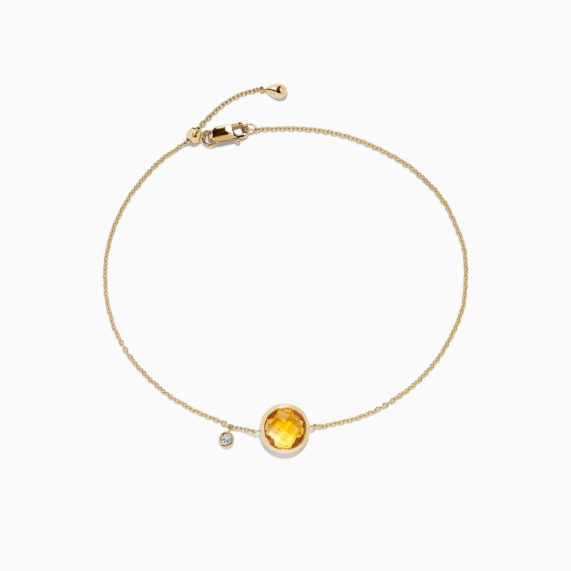 Effy Sunset 14K Yellow Gold Citrine & Diamond Bolo Chain Bracelet, 1.53 TCW