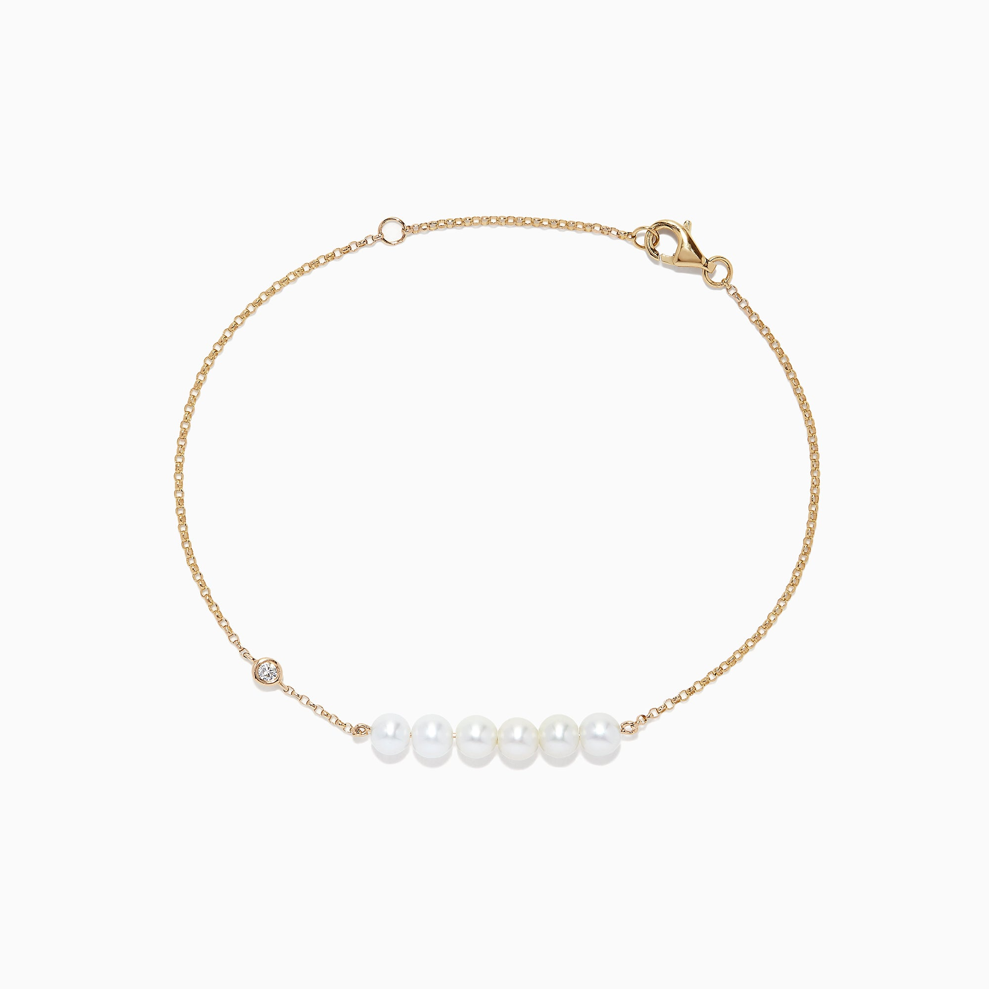 Effy 14K Gold Cultured Fresh Water Pearl and Diamond Bracelet, 0.04 TCW