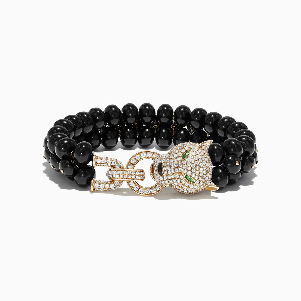 Effy Signature 14K Yellow Gold Diamond and Onyx Bracelet, 138.55 TCW