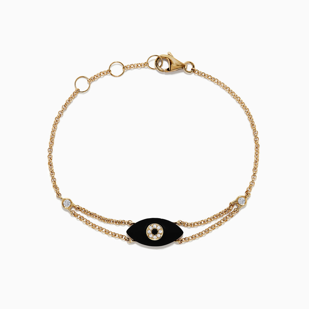 Effy Novelty 14K Yellow Gold Onyx and Diamond Evil Eye Bracelet, 1.34 TCW