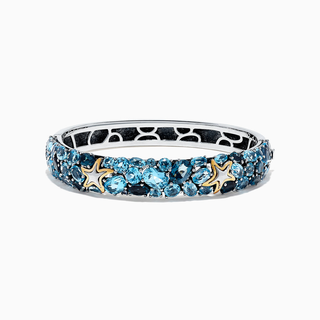 Effy Seaside Silver and 18K Gold Blue Topaz Starfish Bangle, 26.80 TCW