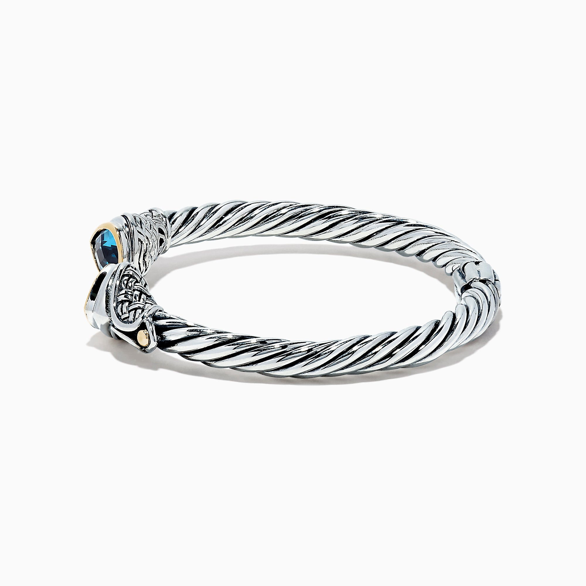 Effy 925 Sterling Silver & 18K Gold Blue Accented Topaz Bangle, 5.20 TCW