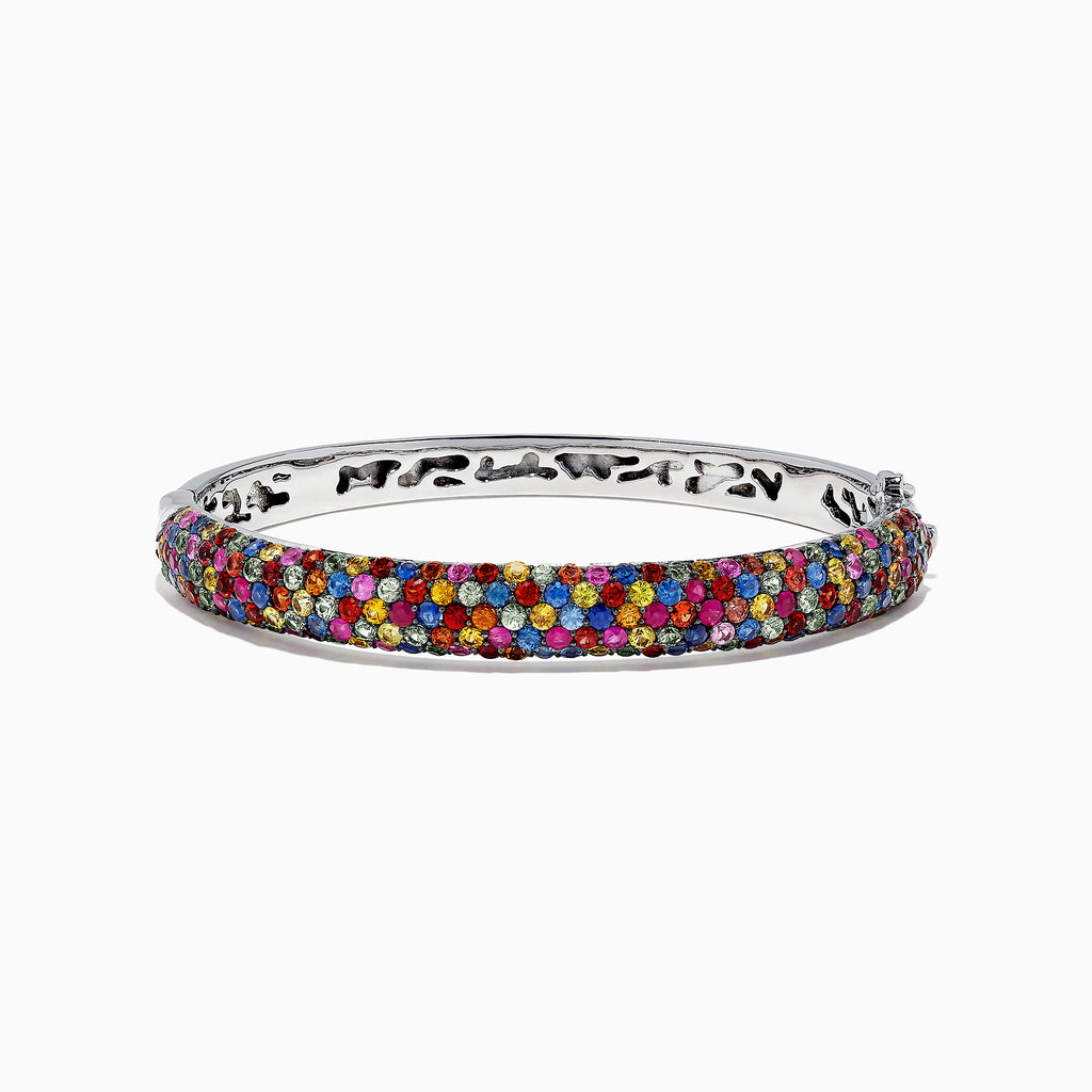 Effy Splash Sterling Silver Multi Sapphire Bangle, 10.50 TCW