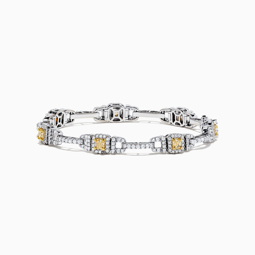 18K Two Tone Gold Yellow and White Diamond Bracelet, 4.37 TCW