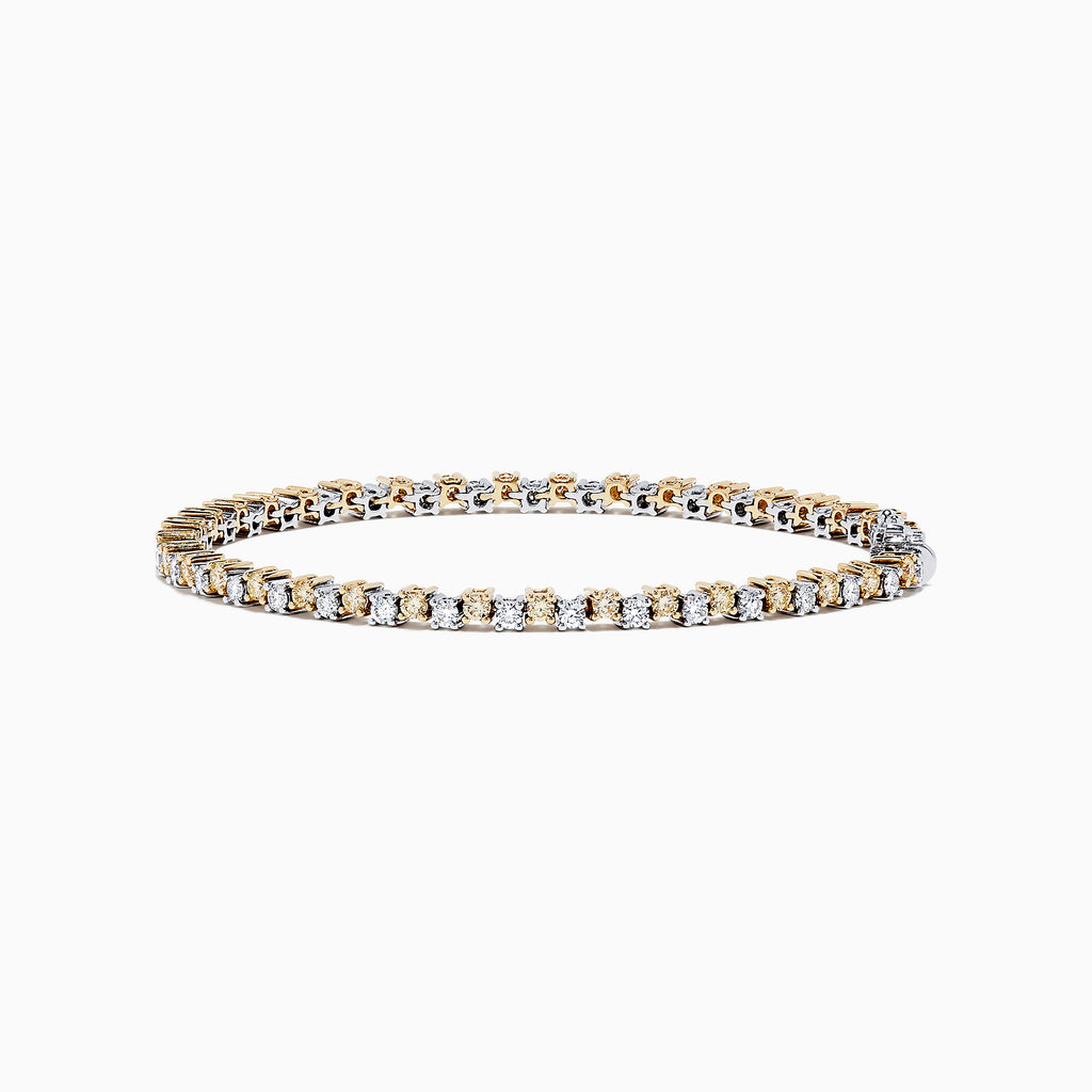 14K Two Tone Gold Yellow and White Diamond Tennis Bracelet, 4.30 TCW