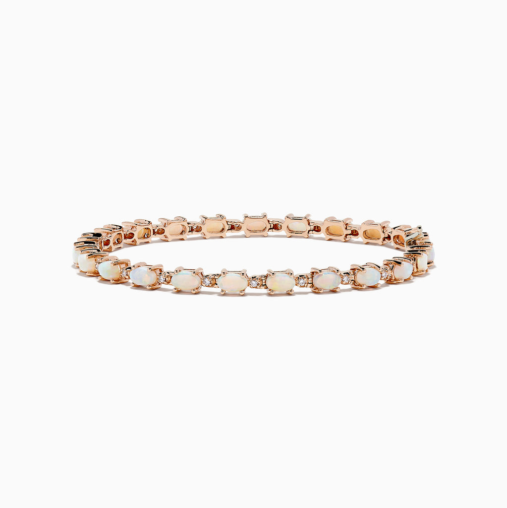 Effy Aurora 14K Rose Gold Opal and Diamond Bracelet, 4.72 TCW