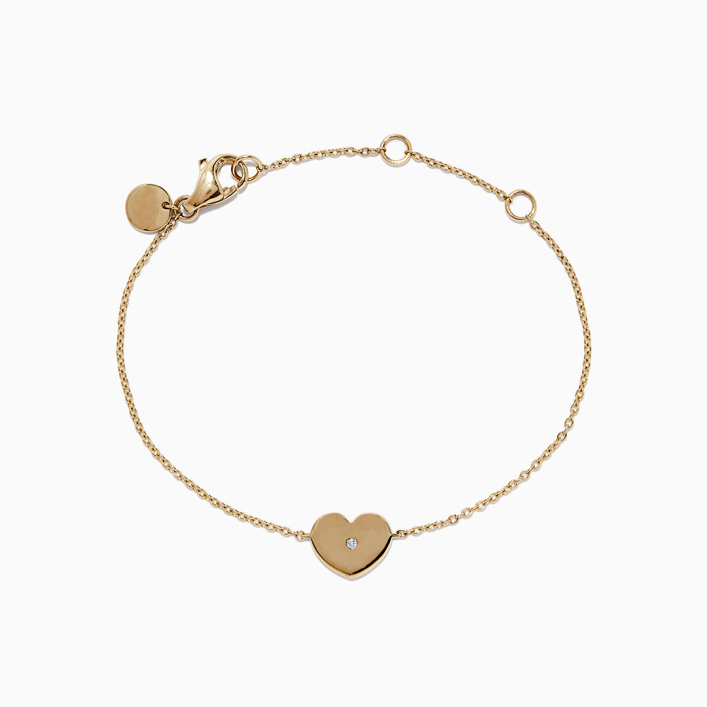 Effy Kidz 14K Yellow Gold Heart Bracelet. 0.01 TCW