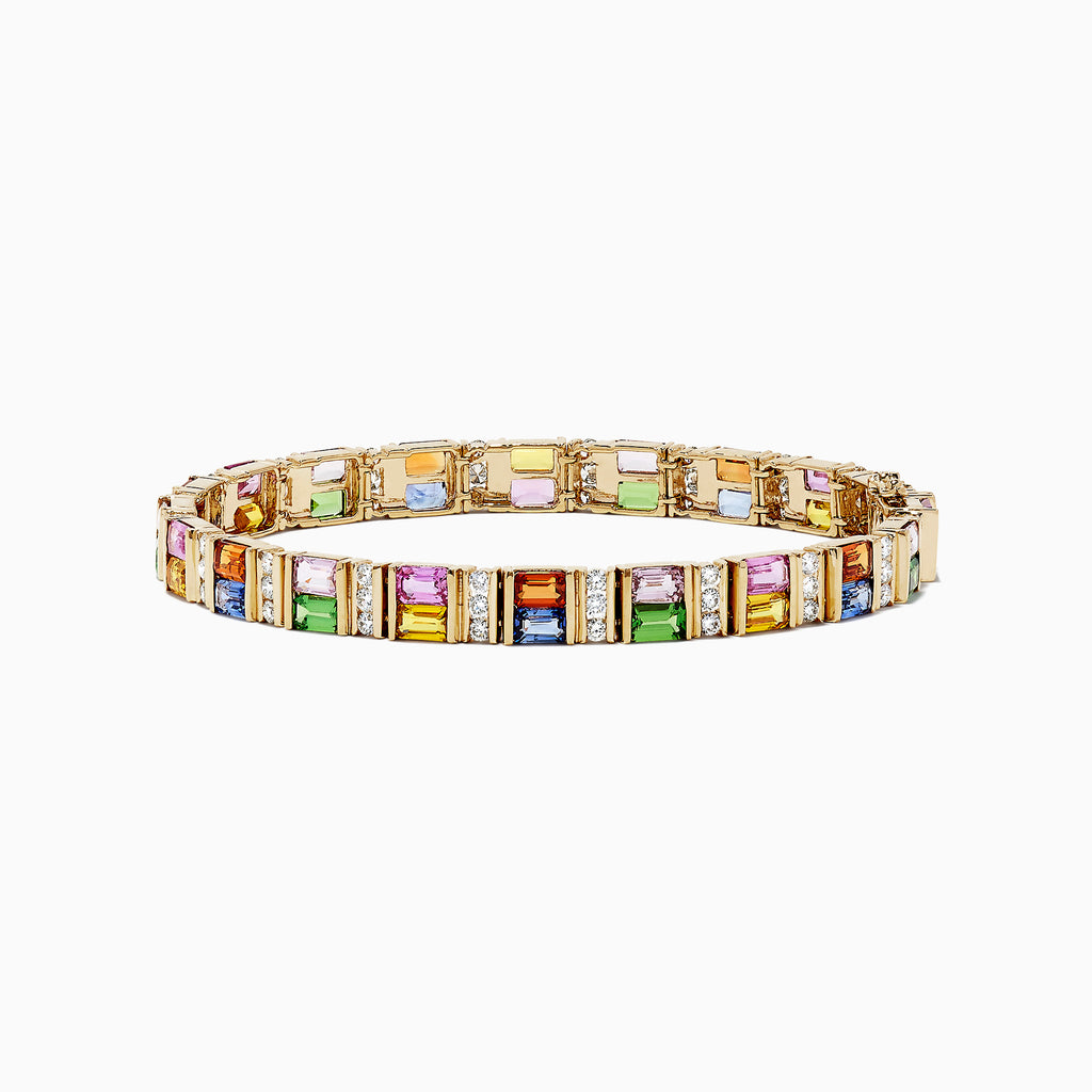 Effy Watercolors 14K Gold Multi Sapphire and Diamond Bracelet, 16.10 TCW