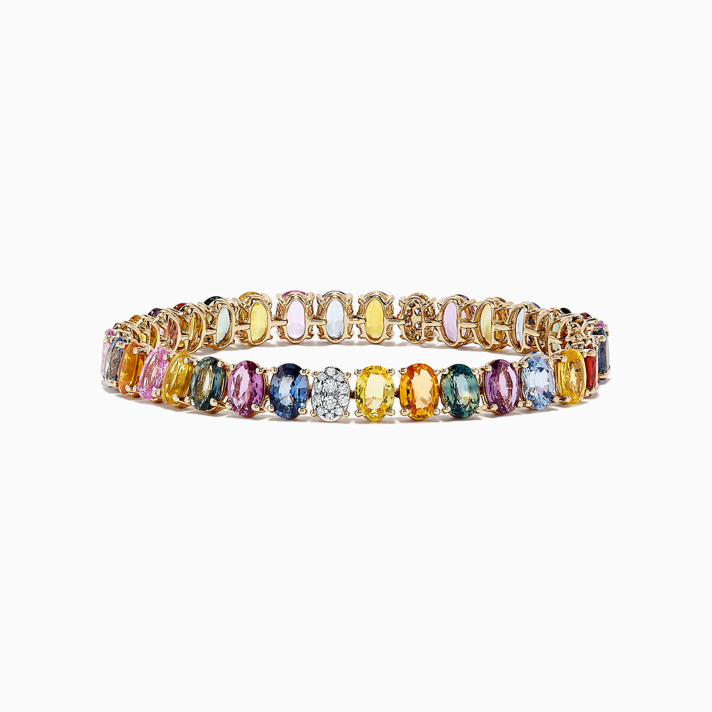 Effy Watercolors 14K Yellow Gold Multi Sapphire and Diamond Bracelet, 28.98 TCW