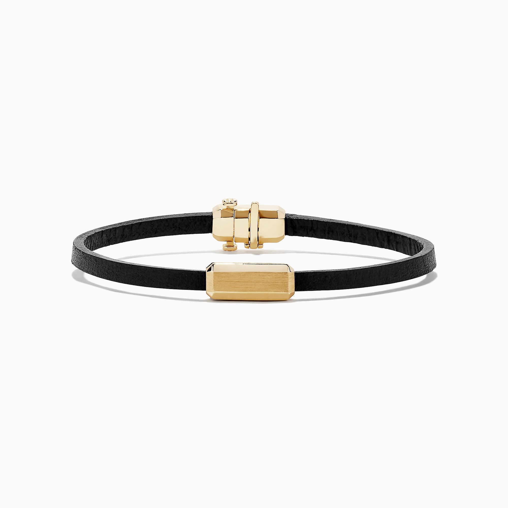 Effy Men's 14K Yellow Gold Leather Bracelet