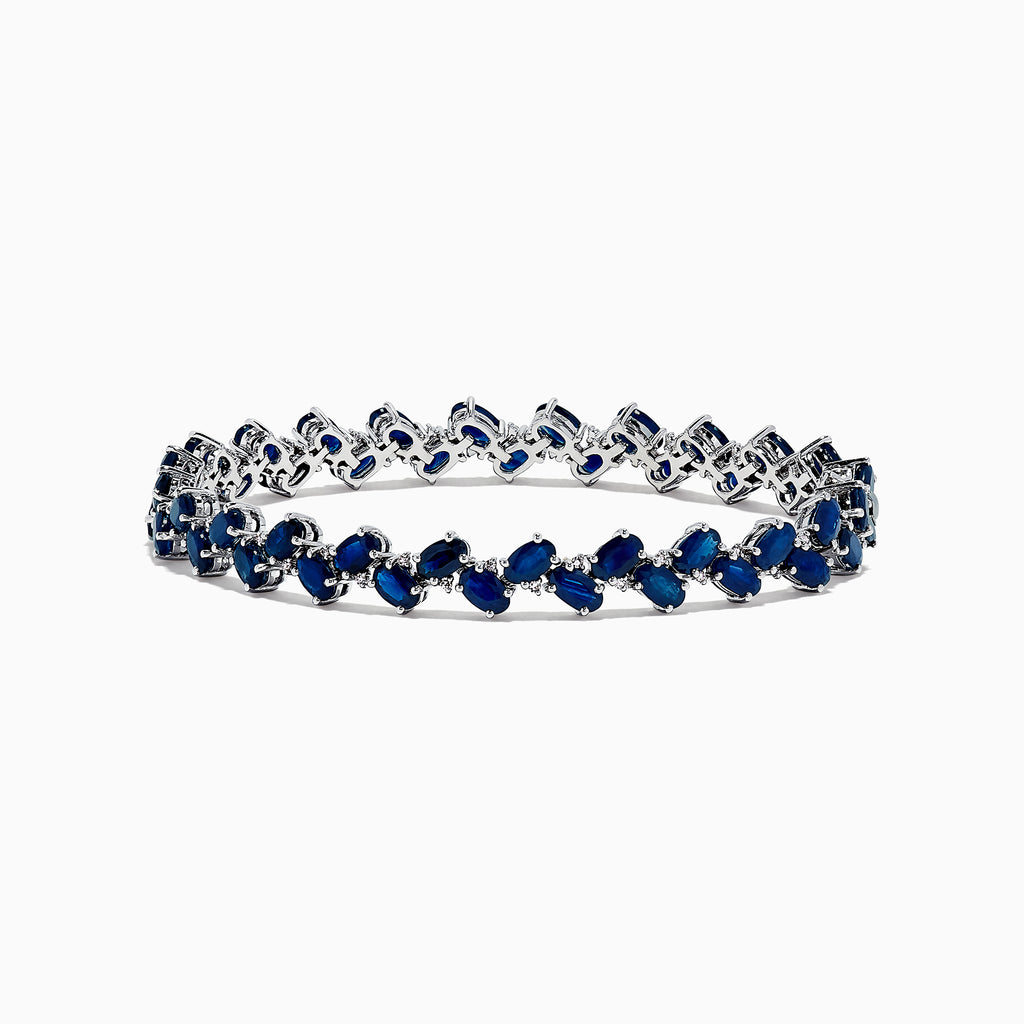 Effy Royale Bleu 14K White Gold Sapphire and Diamond Bracelet, 15.50 TCW