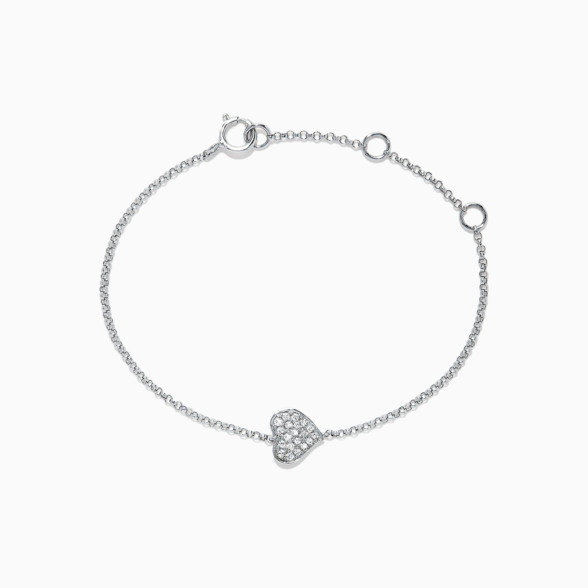 Effy Kidz 14K White Gold Diamond Heart Bracelet, 0.07 TCW