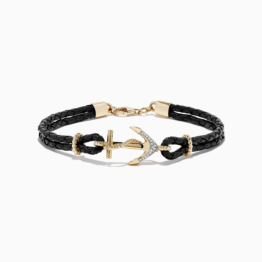 Effy Men's 14K Yellow Gold Diamond Anchor Leather Bracelet, 0.07 TCW