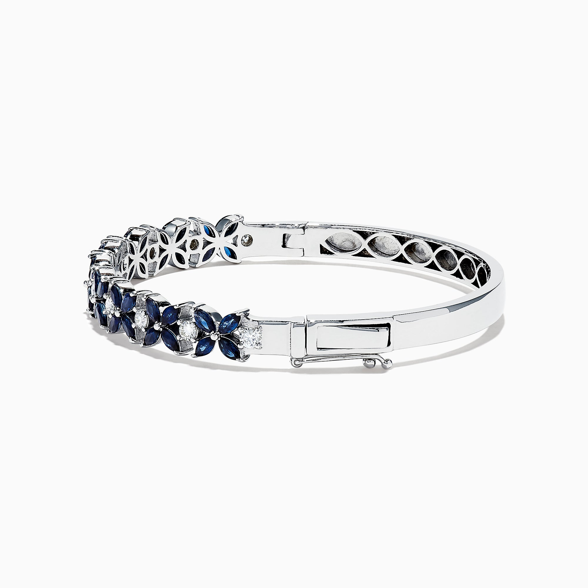 Effy Royale Bleu 14K White Gold Sapphire and Diamond Bangle, 4.01 TCW
