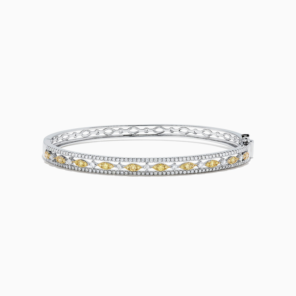 Effy Canare 14K White Gold Yellow and White Diamond Bangle, 1.27 TCW