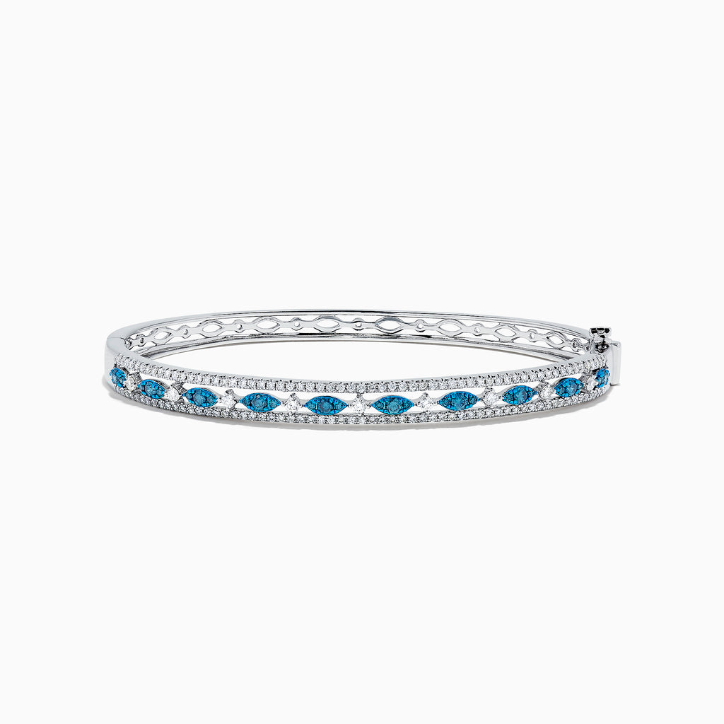 Effy Bella Bleu 14K White Gold Blue and White Diamond Bangle, 1.27 TCW