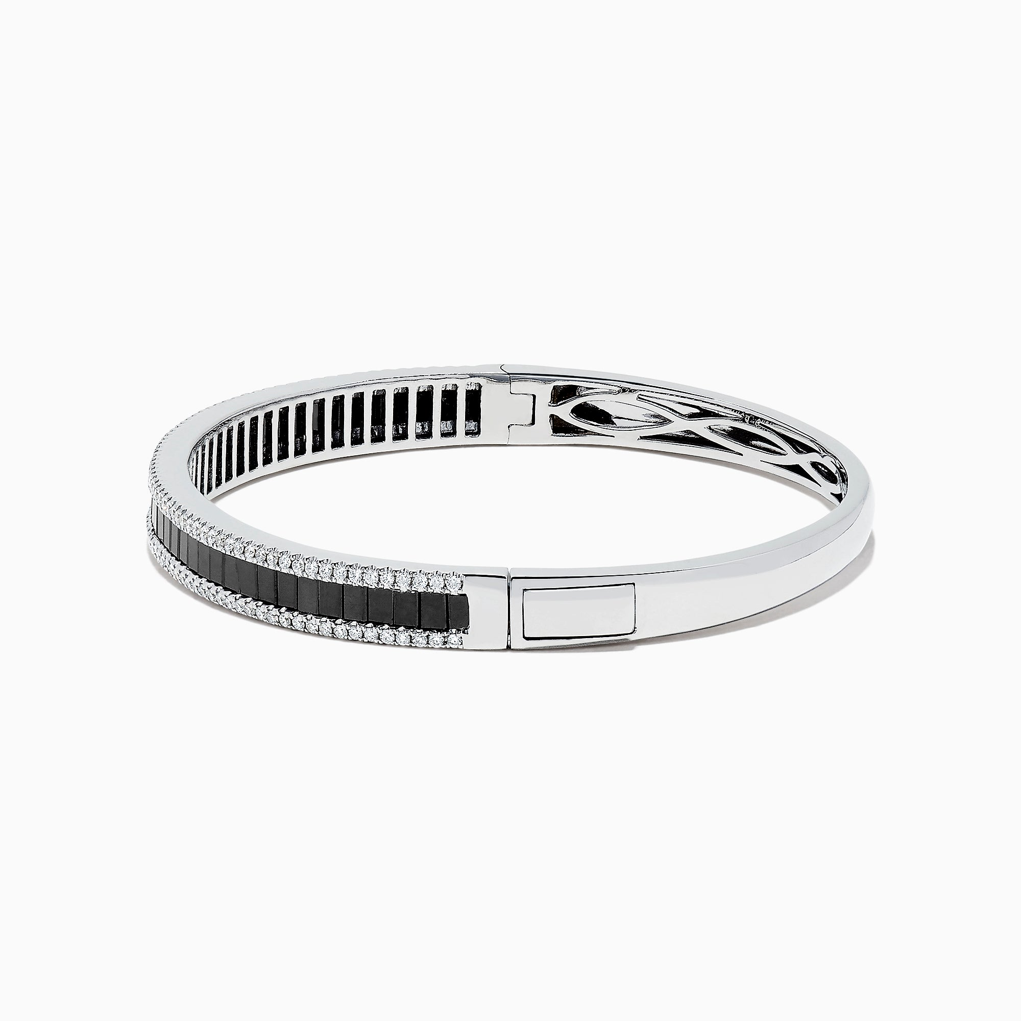 Effy 14K White Gold Black and White Diamond Bangle, 3.93 TCW