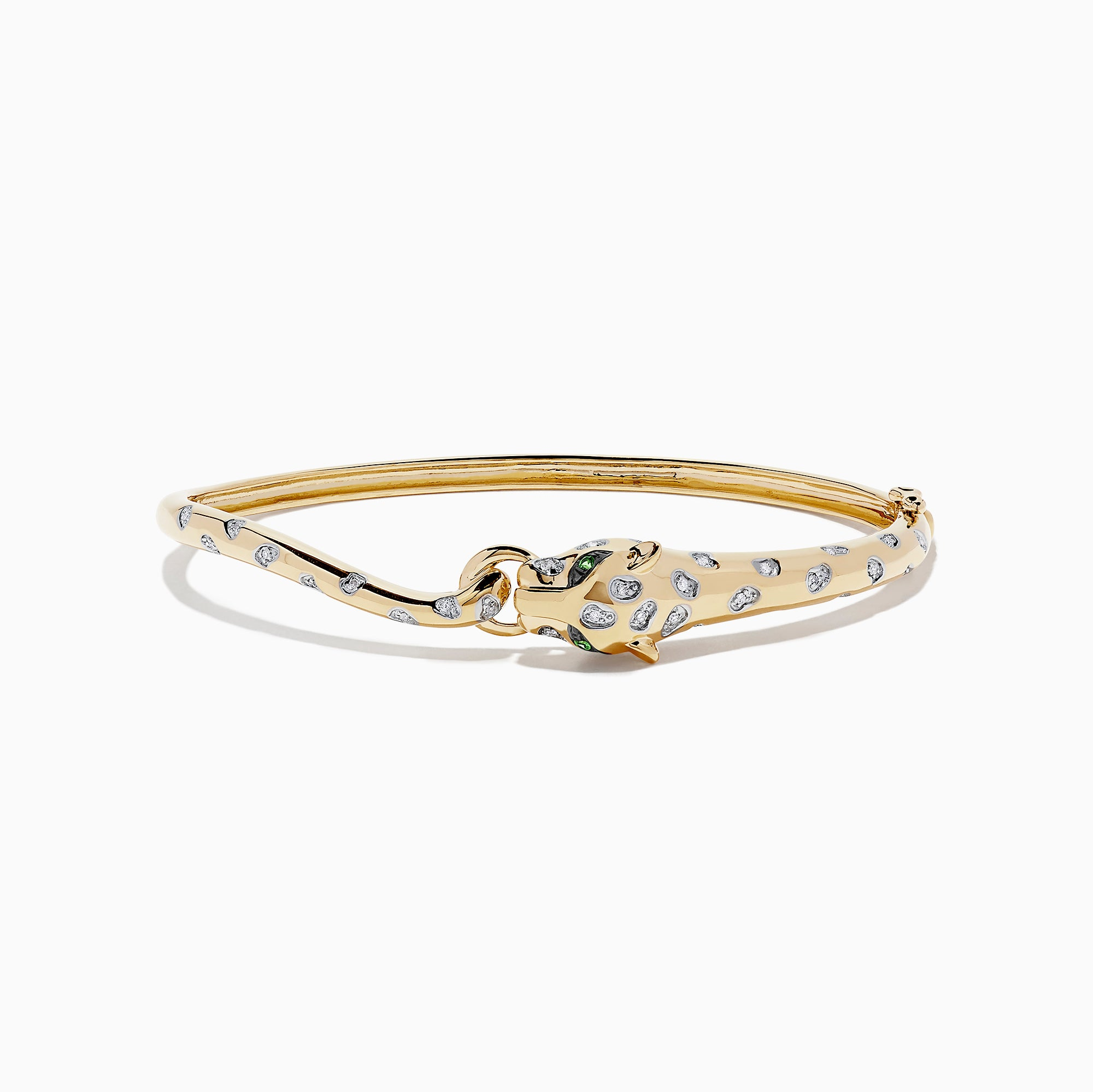 Effy 14K Yellow Gold Diamond Panther Bangle, 0.16 TCW