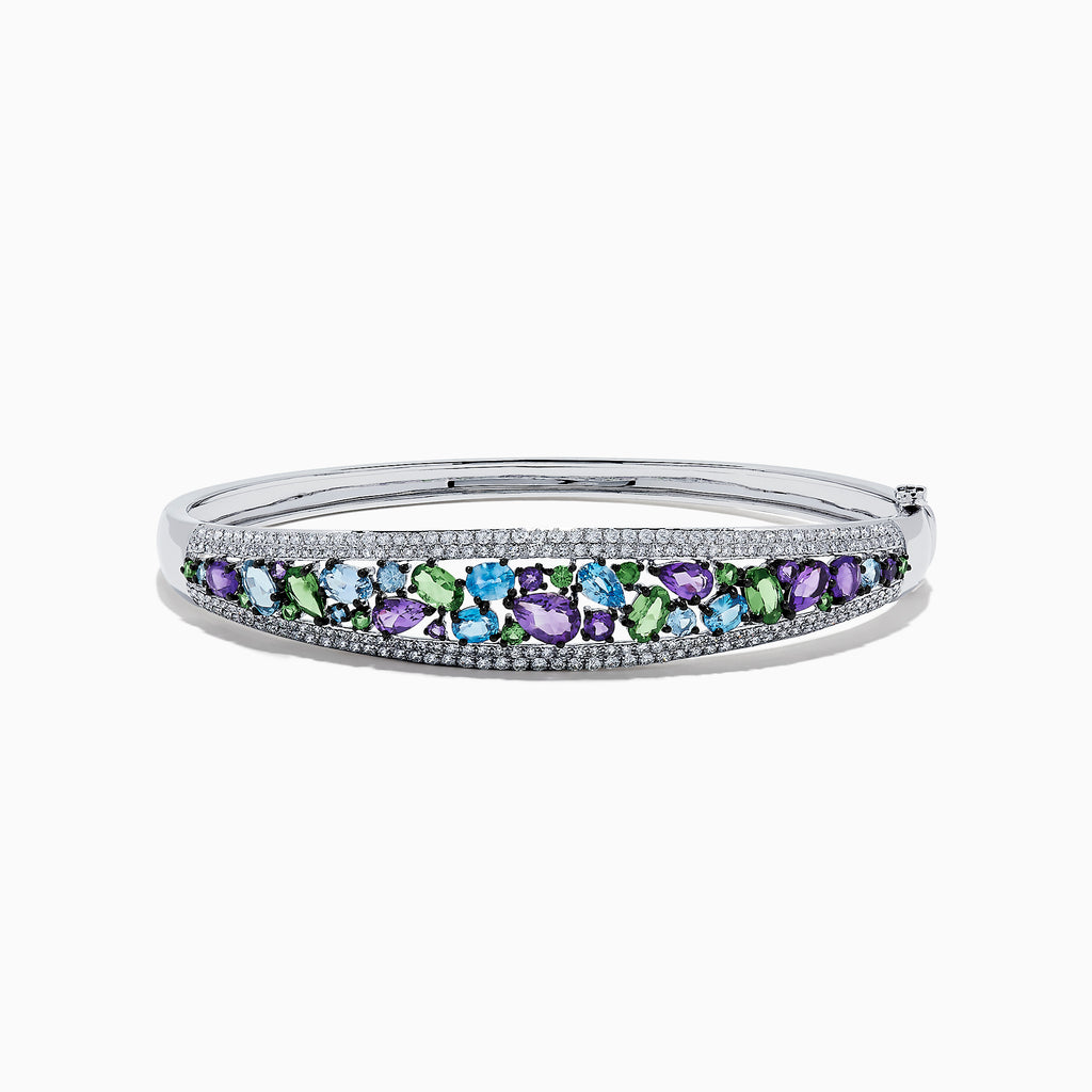 Effy Watercolors 14K White Gold Multi Sapphire and Diamond Bangle, 6.25 TCW