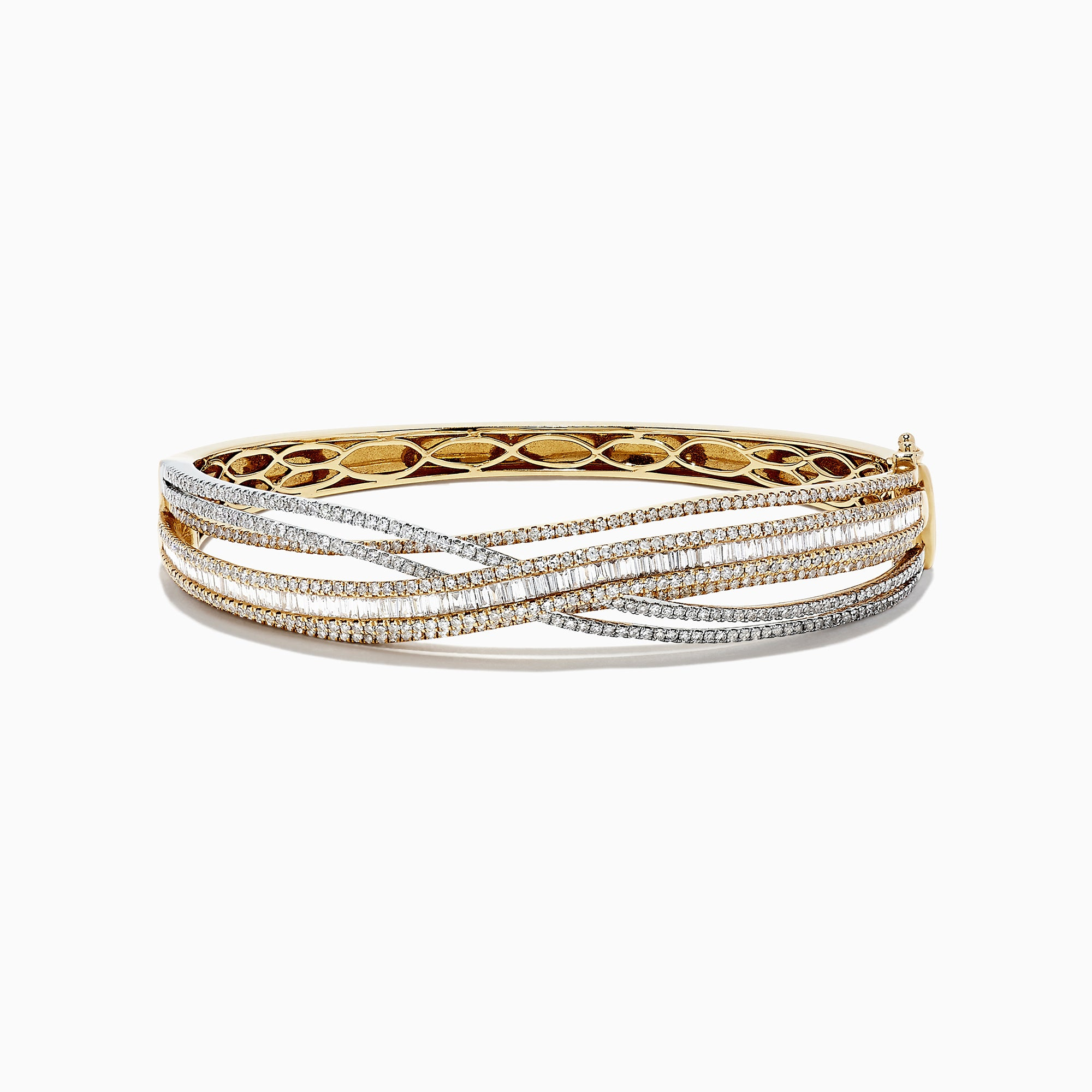Effy Duo 14K Two Tone Gold Diamond Crossover Bangle, 3.15 TCW