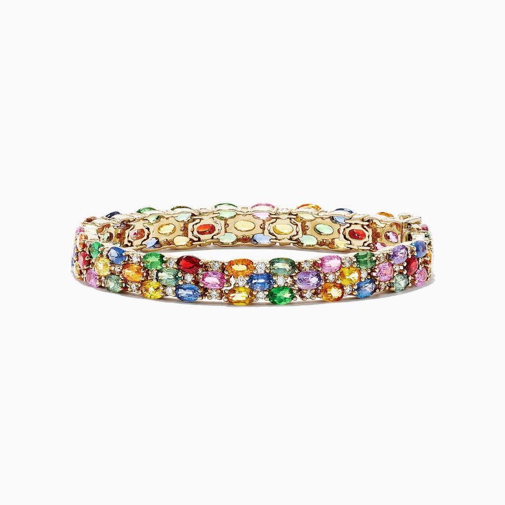 Effy Watercolors 14K Gold Multi Sapphire & Diamond Bracelet, 24.54 TCW