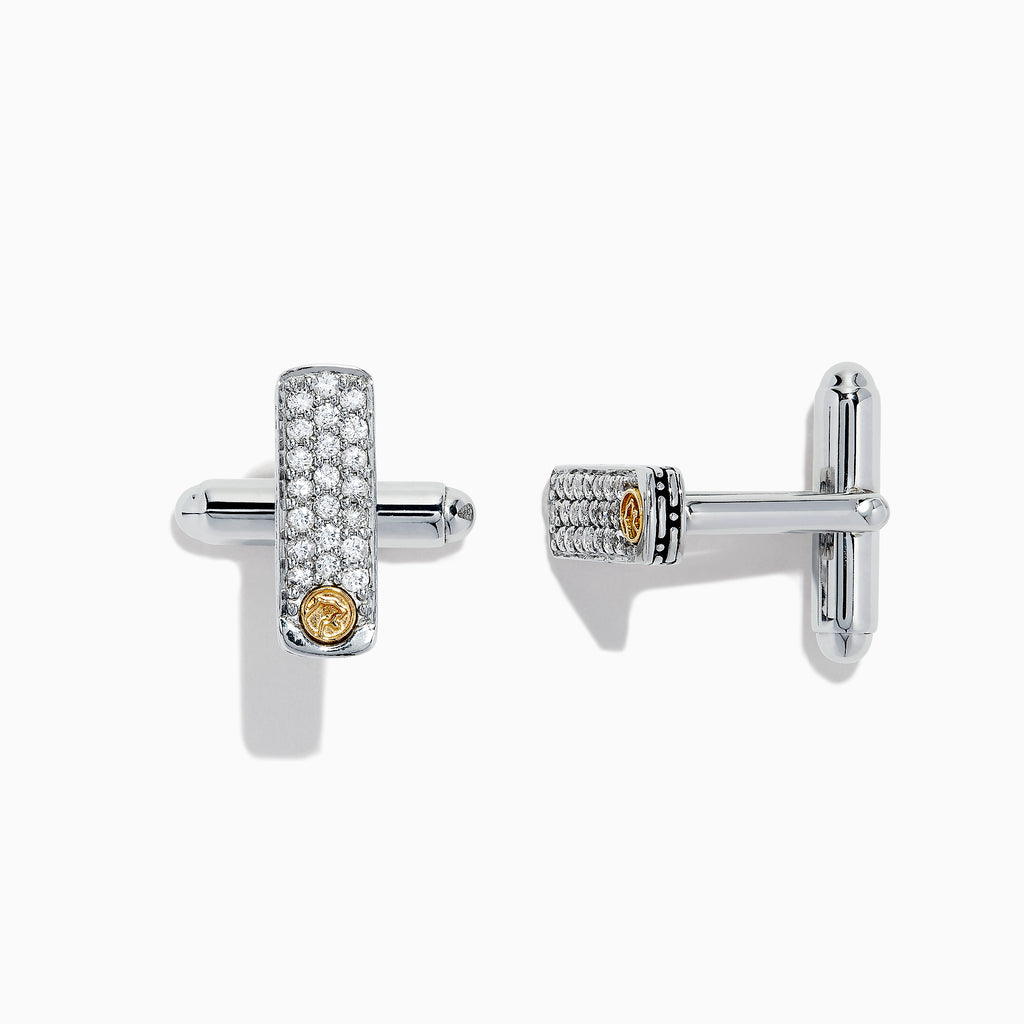 Effy Men's Sterling Silver & 18K Gold White Sapphire Cuff Links,0.80 TCW