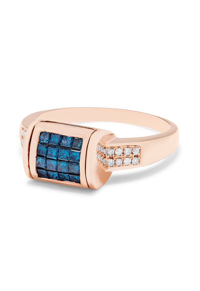 Effy Diversa 14K Rose Gold Blue and White Diamond Ring, 0.98 TCW