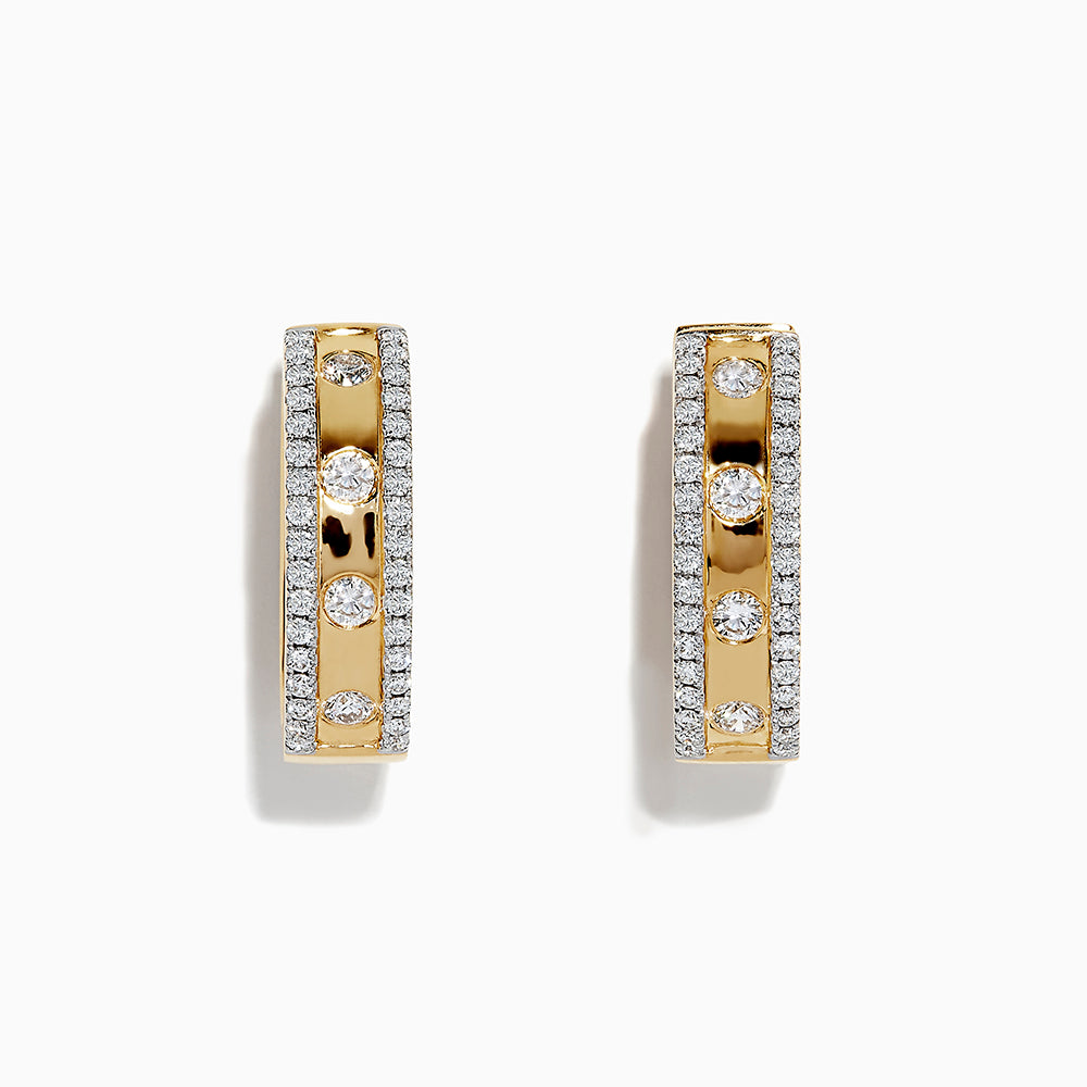 18K Yellow Gold Diamond Hoop Earrings, 1.21 TCW