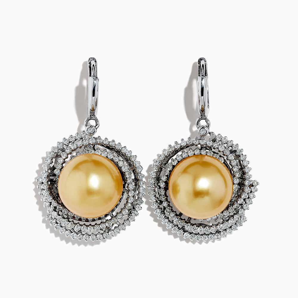 18K White Gold Pearl and Diamond Earrings, 2.10 TCW