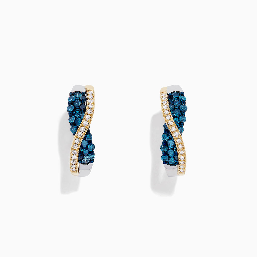 14K Two Tone Gold Blue and White Diamond Crossover Hoop Earrings, 1.00 TCW
