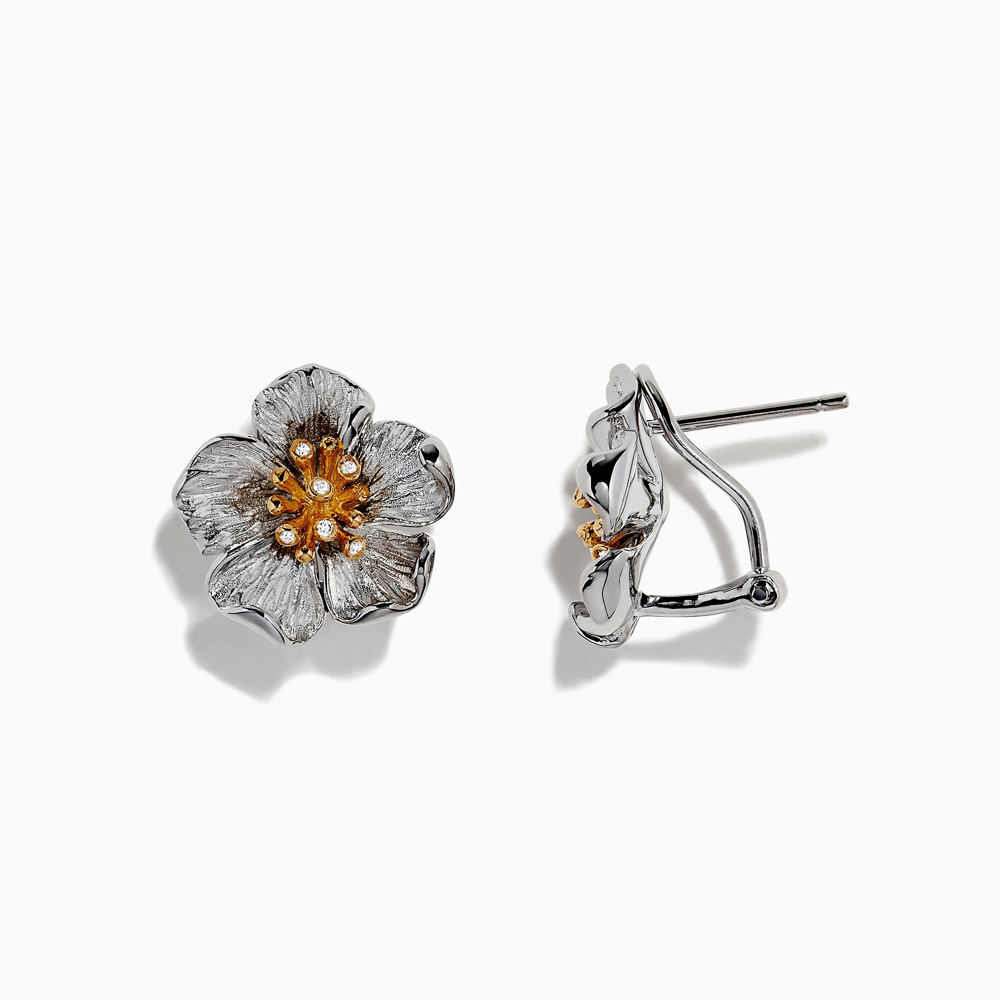 Effy Nature Sterling Silver & 18K Gold Diamond Flower Earrings, 0.04 TCW