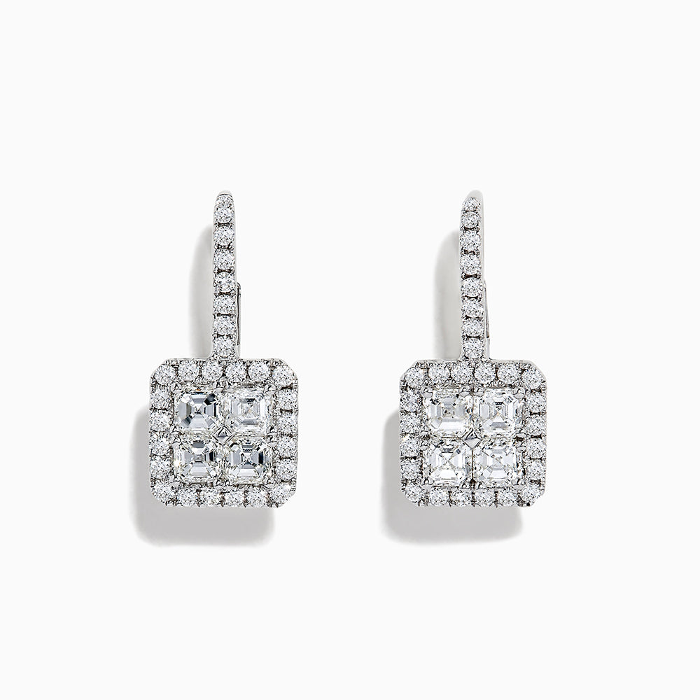 18K White Gold Diamond Drop Earrings, 1.33 TCW