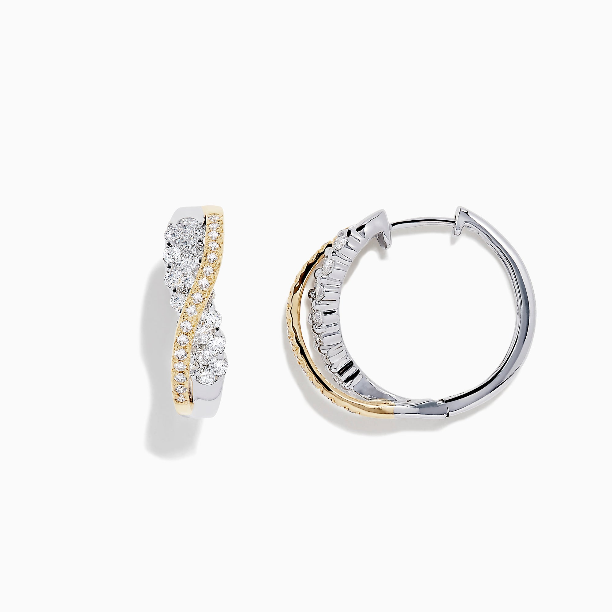 14K White and Yellow Gold Diamond Crossover Hoop Earrings, 1.00 TCW