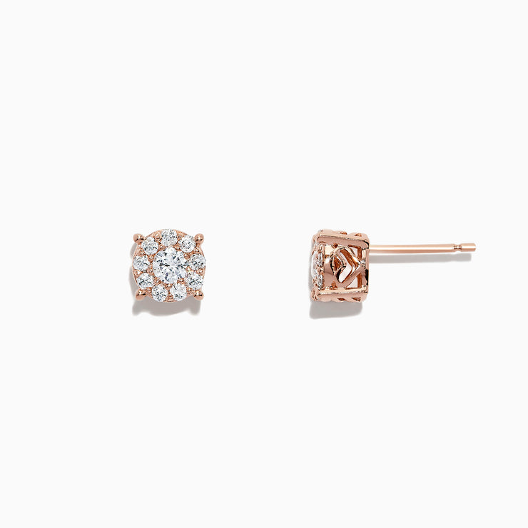 Effy Bouquet 14K Rose Gold Diamond Cluster Earrings, 0.50 TCW