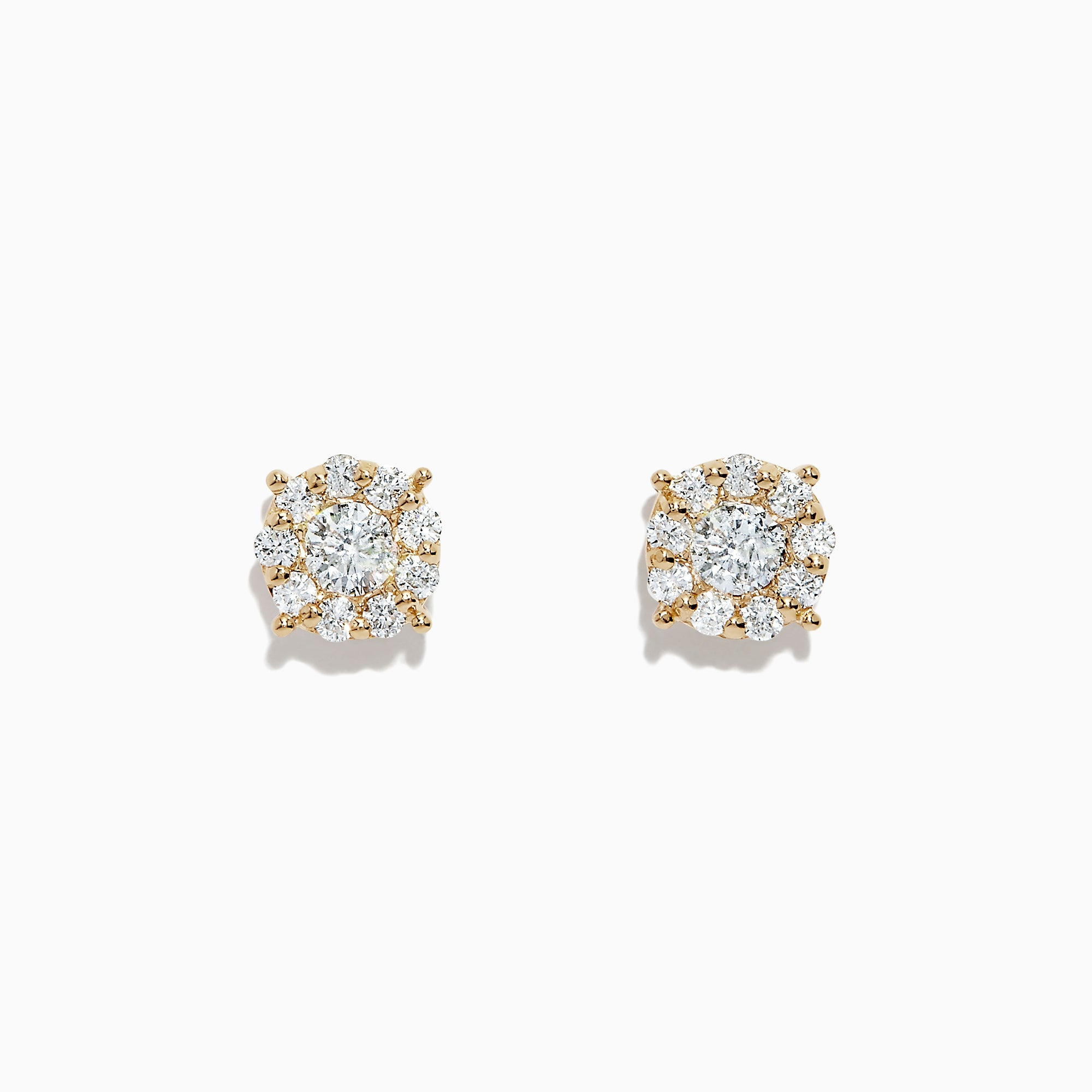 Effy Bouquet 14K Yellow Gold Diamond Cluster Earrings, 0.93 TCW