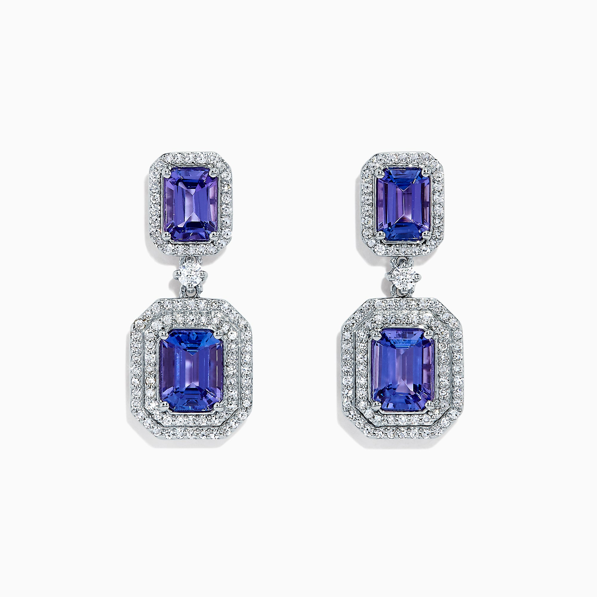 Effy Tanzanite Royale 14K White Gold Tanzanite & Diamond Earrings, 5.24 TCW