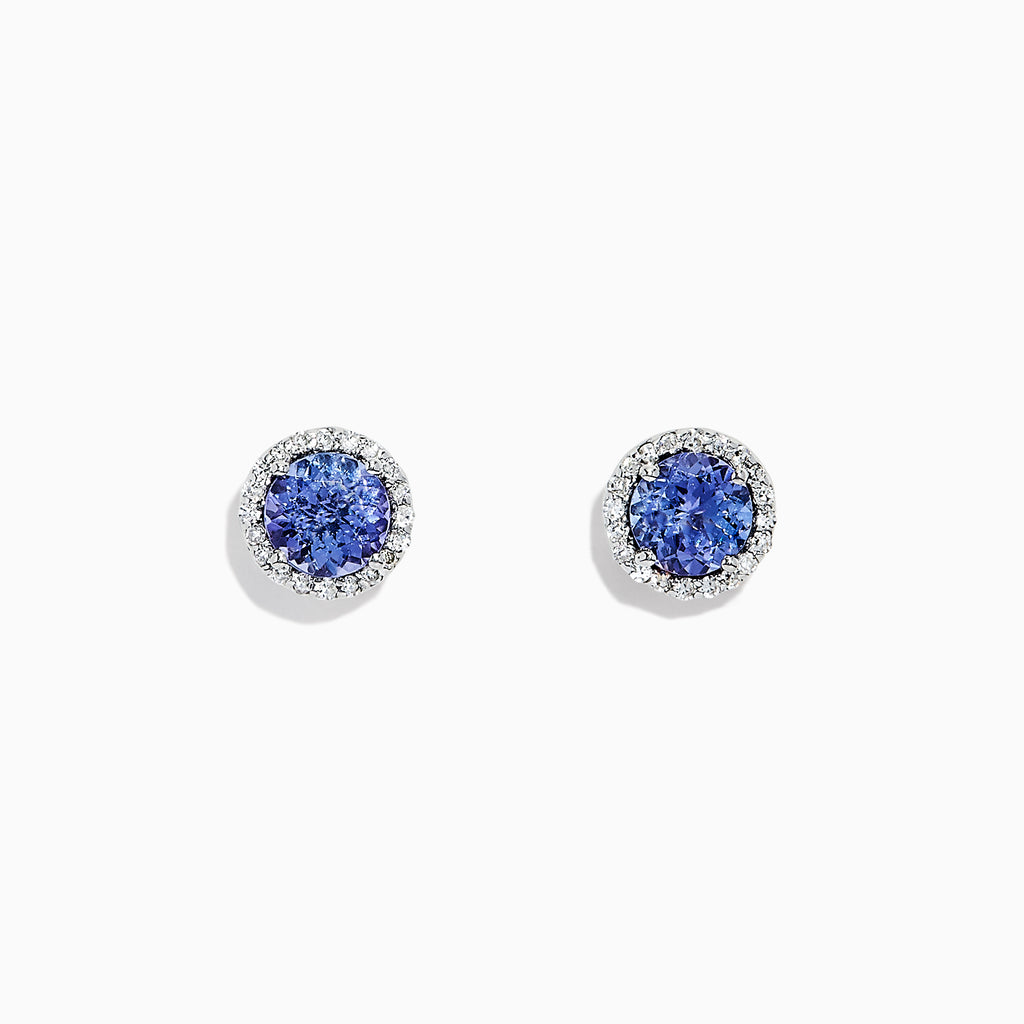 Effy Tanzanite Royale 14K White Gold Tanzanite and Diamond Stud Earrings, 1.91 TCW