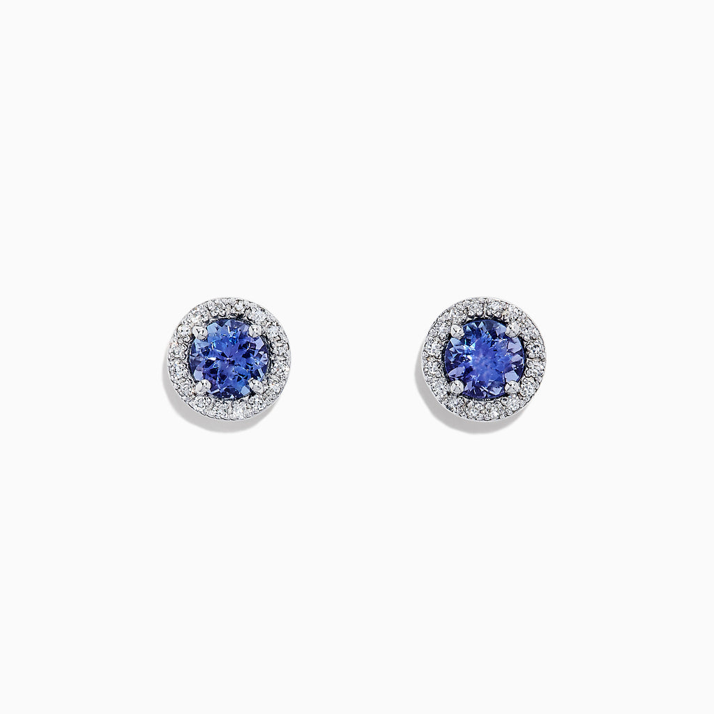 Effy Tanzanite Royale 14K White Gold Tanzanite and Diamond Stud Earrings, 1.04 TCW