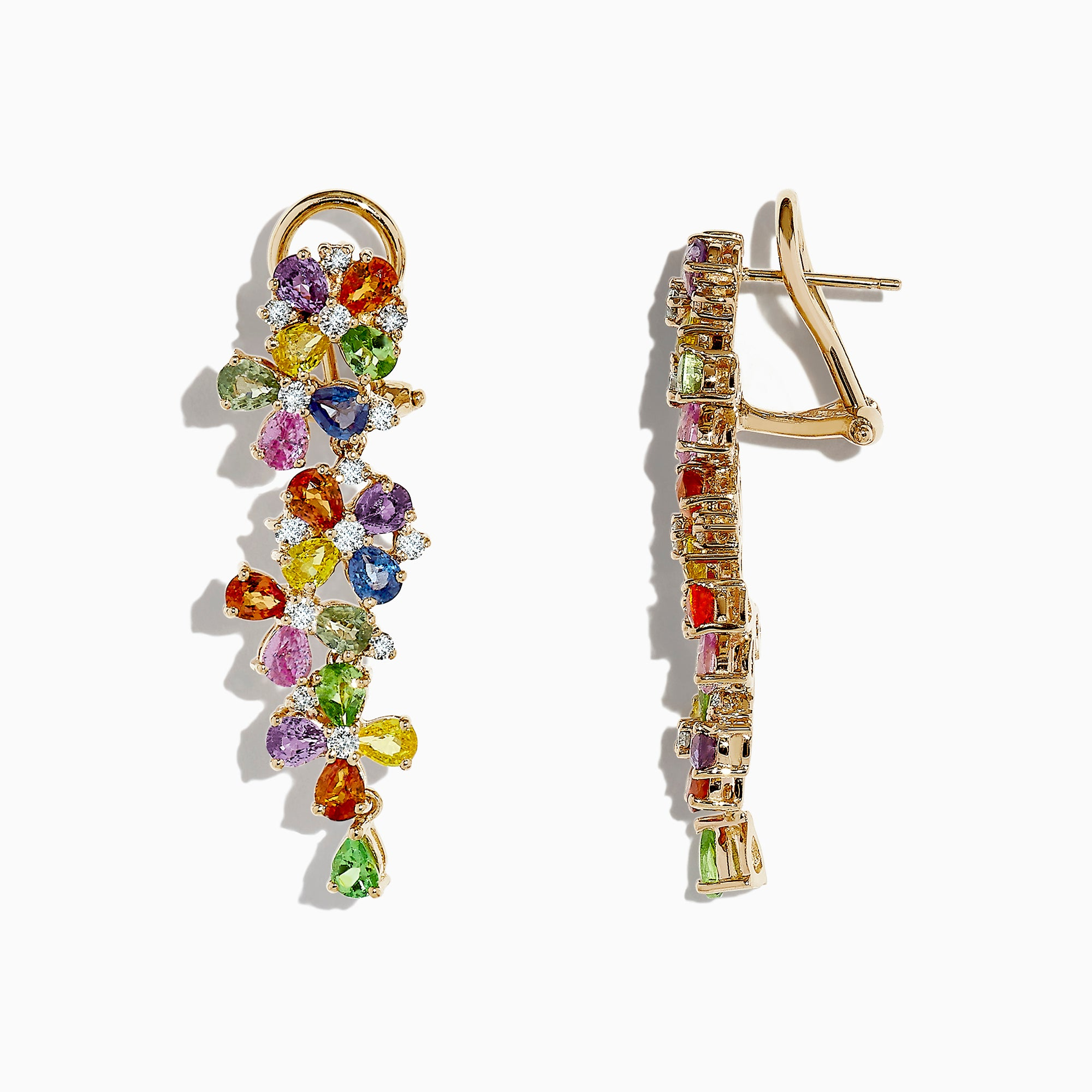 Effy Watercolors 14K Gold Multi Sapphire and Diamond Earrings, 9.68 TCW