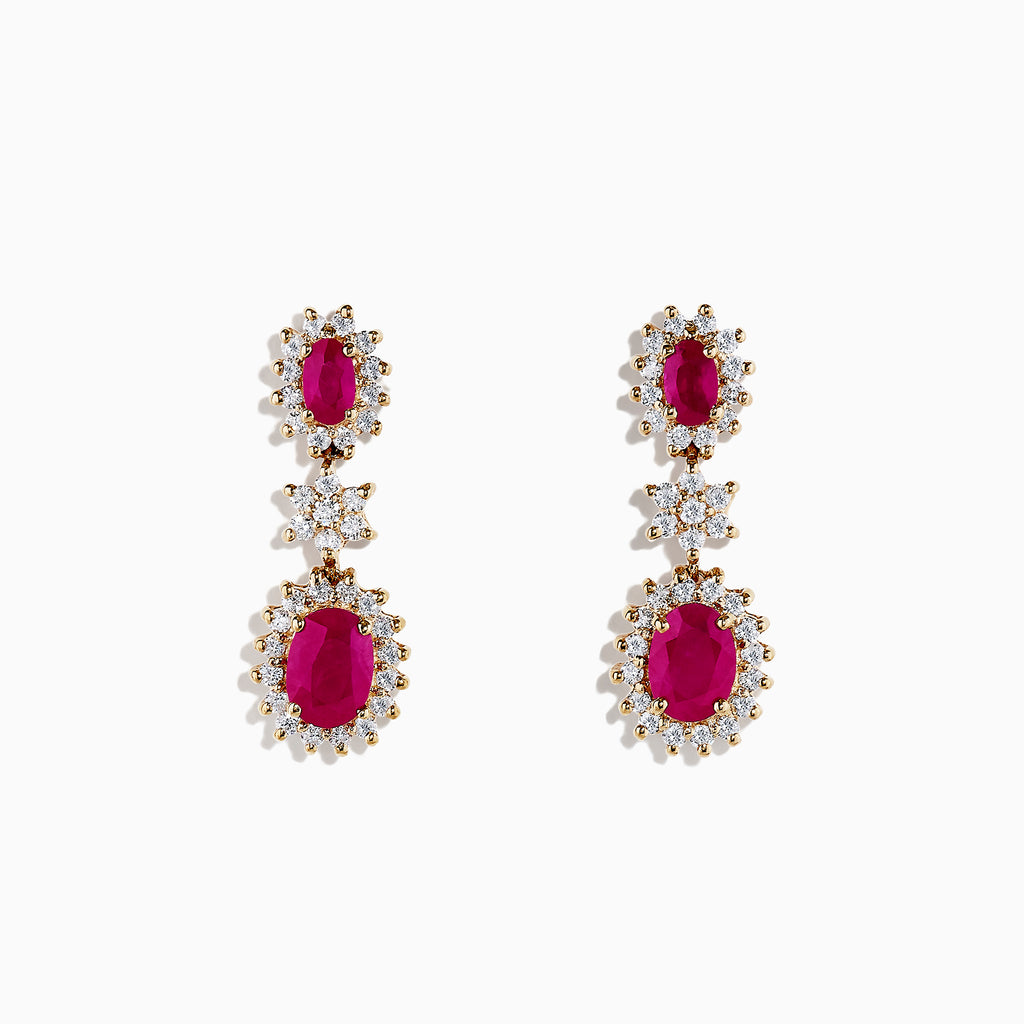 Effy Ruby Royale 14K Yellow Gold Ruby and Diamond Drop Earrings, 3.43 TCW