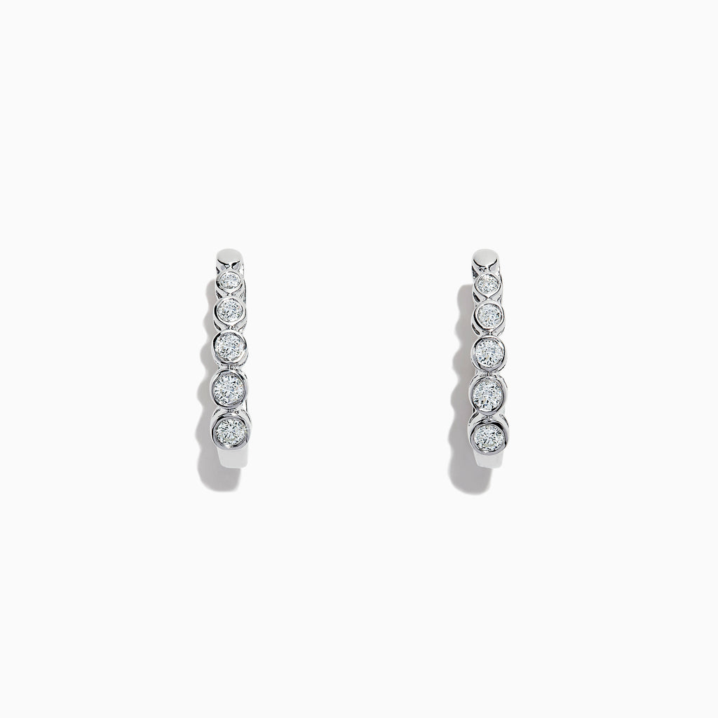 Effy Pave Classica 14K White Gold Diamond Huggie Hoop Earrings, 0.57 TCW