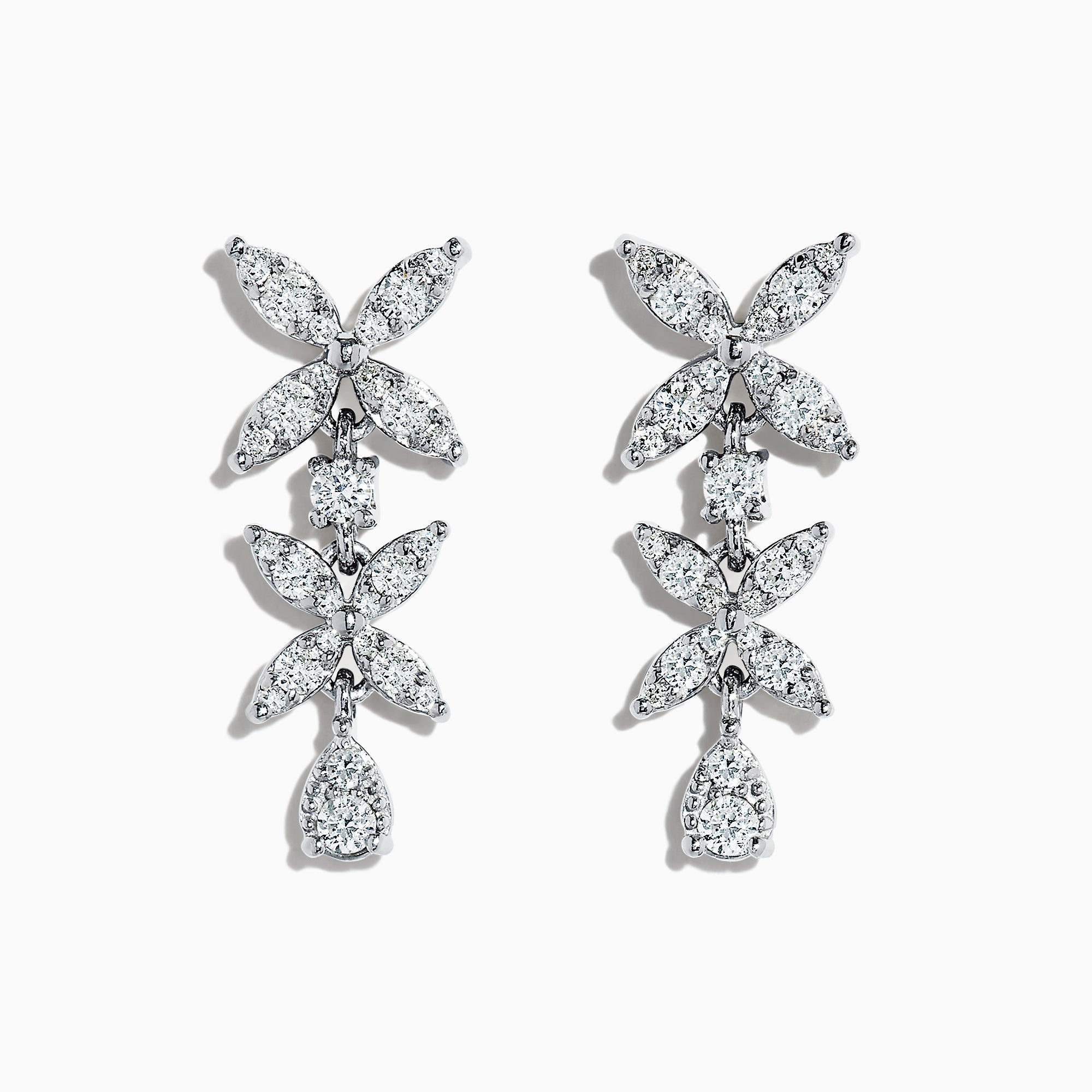 Effy Pave Classica 14K White Gold Diamond Earrings, 0.73 TCW