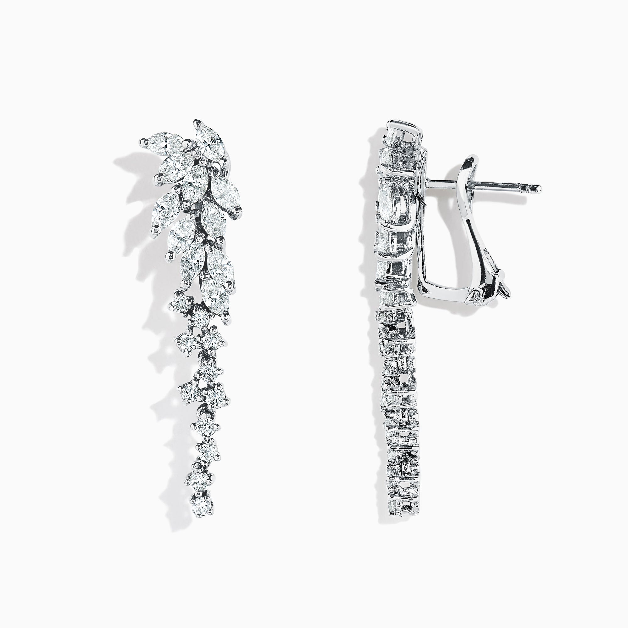 Effy Pave Classica 14K White Gold Cascading Diamond Earrings, 2.01 TCW